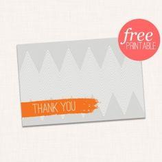 Free printable modern orange and gray thank you card!