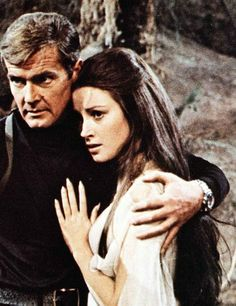 Still from Live and Let Die. Roger Moore and Jane Seymour.