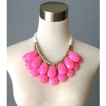 RESTOCK: Pink Bib Necklace - $48.00