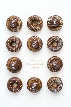 Chocolate Banana Crunch Donuts for your next football get-together. Find the recipe and secret crunchy ingredient on the blog~ @walmart #SweetSquad #chocolate #doughnuts #donuts #football #tailgating #recipe #gold #party #ad