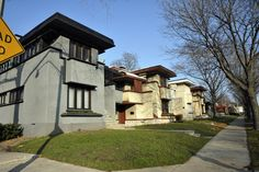 A small block of american system style homes by Frank Lloyd Wright in Milwaukee, WI.  Had a very special tour of a remodeled and yet-to-be remodeled version..amazing.
