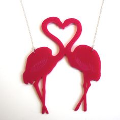 Unique flamingo necklace. Designed and made in the Sour Cherry workshop in Sheffield. #Flamingo #AMVB