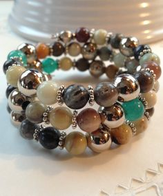 Ite And Aventurine Memory Wire Bracelet By Parkerrockjewelry 30 00
