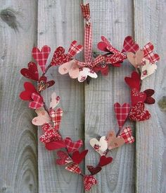 Valentine's Day heart wreath with fabric hearts - The Greatest 30 DIY Decoration Ideas For Unforgettable Valentine's Day