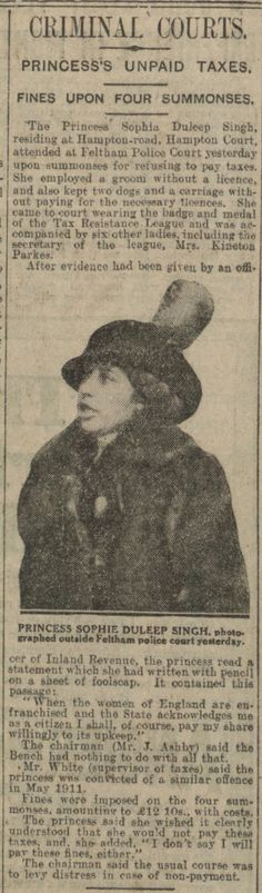 Daily Mail article of Sophia Duleep Singh's trial