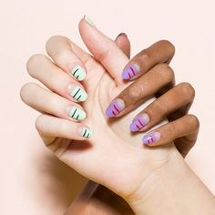 Ruler stripes. Discover these fresh nail-art ideas for spring.