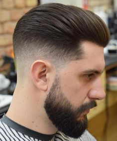 slicked back hairstyle with volume