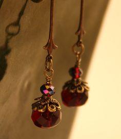 Fluer de Lis Garnet Bohemian earrings Garnet by BlackDragonflies3, $18.00