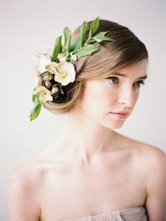 Honey of a Thousand Flowers  Delicate spring floral hair piece by Sarah Winward, photo by Jessica Peterson, Hair by Aubrey Nelson, Modeling by Karley Parker
