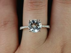 14kt Rose Gold Round White Topaz and Diamond Cathedral Engagement Ring (Other metals and stone options available)