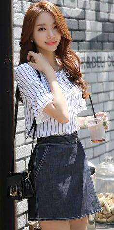 StyleOnme_White Stitch Detail Denim Skort #denim #jean #skirt #shorts #spring #summer #cute #girly #koreanfashion