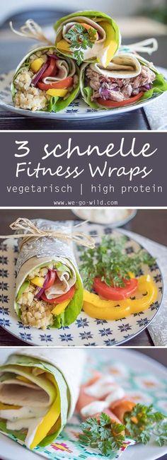 Wraps Rezepte vegetarisch: Leckere Wraps zum Mitnehmen fürs Büro. Mit Thunfisch, Linsen und Lachs #wraps #vegetarisch #fitnessrezepte