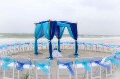 Shades of blue in a circle of love. Suncoast Weddings beach wedding style on the Florida shores