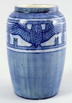 Newcomb College Pottery Museum | Newcomb College - Owls Vase. Painted & Glazed Pottery. Decorated by ...