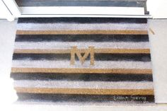 How To   Monogram Striped Welcome Mat   from Living Savvy