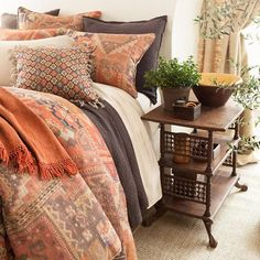 Go East with this colorful linen duvet cover, digitally printed with a patchwork of kilim-inspired patterns in shades of blue, terra-cotta, java, and brick. Coordinates beautifully with both neutrals and patterns, including our Laundered Cotton throws, Linen Mesh coordinates, and Anatolia decorative pillows and throw. • 100% linen.  • Print on front, solid linen back.
