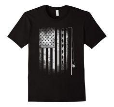 fishing angle fish American Flag u.s. team T-shirt