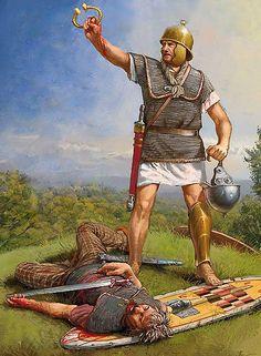 A Roman Legionaire with a dead Gaul