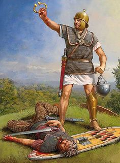 Republican Roman Legionary with the torc necklace of a vanquished Gaul - art by Radu Oltean