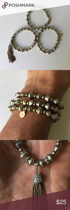 Stella & Dot bracelet Stella & Dot Milana Tassel stretch bracelets, 3 for the price of 1, west together or separate, removable tassel, fits sm-lg wrists Stella & Dot Jewelry Bracelets