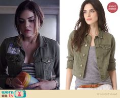 Aria's green denim jacket on Pretty Little Liars.  Outfit Details: http://wornontv.net/35061/ #PLL