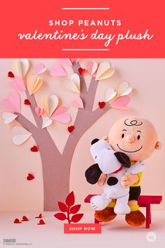 Give Charlie Brown and his beloved dog Snoopy to someone you love very much. Plush stuffed animal features the famous duo sharing a sweet hug.