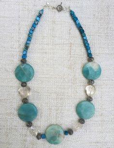 Morianna Necklace - Gemstone & Sterling Silver Boho Chic Handmade Designer Jewelry - Turquoise Amazonite, Agate, Quartz by StudioHPontvianne on Etsy