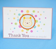Winnie the Pooh Printable Thank You Notes. Show gratitude to baby shower guests with cute and cuddly Pooh thank you notes.