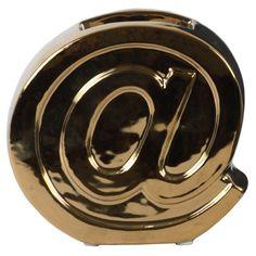 Urban Trends Ceramic Alphabet At Symbol Penholder Gold - 43313