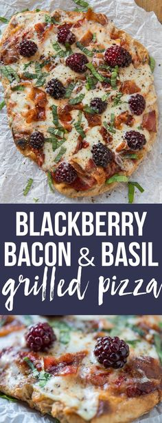 Blackberry basil bacon grilled pizza This blackberry, bacon & basil pizza tastes like it came from a fancy pizza oven but all you need for perfect artisan crust is a backyard grill! Summer Grill Recipes, Barbecue Recipes, Grilling Recipes, Cooking Recipes, Vegetarian Grilling, Fancy Recipes, Grilling Ideas, Healthy Grilling, Barbecue Sauce