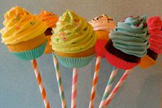 "Fake Cupcake Lollipops ""Yum Yum"" Collection 6 Mini Cupcake Lollipops Great Party Decor 12 Legs Original Concept. $29.99, via Etsy."