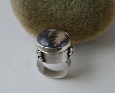 Items similar to Dendritic Plume Agate Sterling Silver Ring by Reagan  Hayhurst on Etsy 0020dd88bf