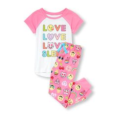 Girls Short Raglan Sleeve 'Love Love Love Sleep' Emoji Graphic Top and Emoji Print Pants PJ Set | The Children's Place