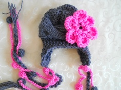 Baby Girl Hat With Flower - Hand Knitted Baby Hat - Baby Ear Flap Hat. $20.00, via Etsy.