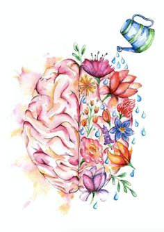 Items similar to medical anatomy art - awesome watercolor flower brain print on Etsy - Office Brain Drawing, Brain Art, Anatomy Drawing, Anatomy Art, Brain Anatomy, Medical Drawings, Medical Art, Male Figure Drawing, Figure Drawing Reference