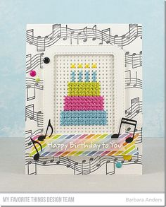 Stamps: PI Happy Birthday to You, Musical Notes Background Die-namics: Cross-Stitch Tag, Stitched Rounded Rectangle Frames, Stitched Fishtail Sentiment Strips, Essential Fishtail Sentiment Strips, Musical Notes Barbara Anders #mftstamps