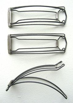"30's Marcelette Double Wave Clips. Three 4 1/2"" x 1 1/2"" metal wire double wave clips for making Marcel waves. A repro copy of the how-to instructions will be included."
