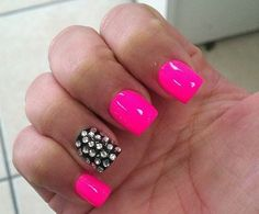 hot pink black nails I had done! LOVE the stones! Too bad I don't like getting my nails done! Get Nails, Love Nails, How To Do Nails, Pretty Nails, Hair And Nails, Pink Black Nails, Hot Pink Nails, Nail Pink, Bright Nails