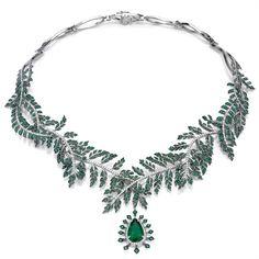 Asprey Fern Necklace in platinum, emeralds and diamonds
