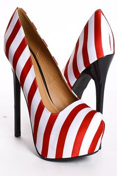 RED WHITE SATIN NAUTICAL STRIPES PLATFORM HEEL PUMPS $29.50