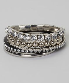 Loving this Black & Silver Rock Star Bracelet Set on #zulily! #zulilyfinds