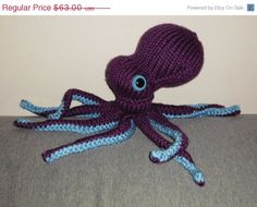 ON SALE Purple Octopus Hand Knit Plush by EmilysIsland on Etsy, $53.55