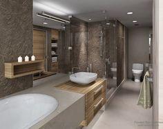 Эффектный рельеф на стенах ванной комнаты