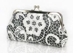 Personalized Gift, Bridesmaid Gift, Mother of the Bride Gift, White Lace Bridal Clutch in Shimmery Silver Gray 8-inch L'HERITAGE