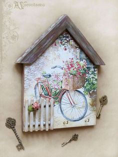 make garden shelves from pallets Popsicle Stick Crafts, Craft Stick Crafts, Wood Crafts, Diy And Crafts, Arts And Crafts, Decoupage Furniture, Decoupage Art, Garden Shelves, Painting On Wood