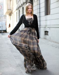 Bohemian-inspired, plaid and ruffle maxi dress with a lightweight cardigan tied in a knot around the waist. #Vlada_Roslyakova