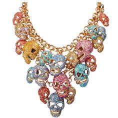 Jane Stone Skull Head Cluster Statement Necklace -- Jane Stone -- $56 #Halloween