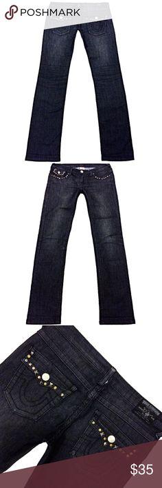 """True Religion """"Joey Super T"""" Black Straight SZ 29 Cute pair of Like New True Religion """"Joey Super T"""" Women's SZ 29 Straight Black Rare Style 100% Cotton Jeans Measurements: Waist: 32"""" Hips: 38"""" Front rise: 8"""" Back rise: 12.5"""" Inseam: 33"""" True Religion Jeans Straight Leg"""