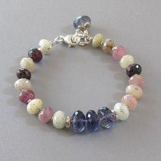 Sapphire Ruby Iolite Gemstone Sterling Silver Bracelet by DJStrang