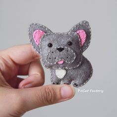 Felt silver frenchie french bulldog by PoCat Factory